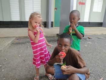 Children drinking bag juice